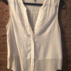 Silk sleeveless button-down top